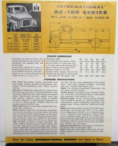 1957 International Trucks IHC AC 180 Series Spec Sheet Dimensions Original
