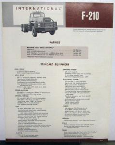 1971 International Trucks IHC F 210 Specs Folder Brochure Original