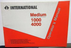 1995 International Trucks MD 1000 4000 Operators Manual Original