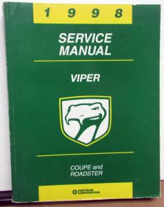 1998 Dodge Viper Dealer Service Shop Repair Manual Coupe & Roadster V10 Original