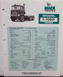 1976 Mack Trucks Model F 700ST Diagrams Dimensions Sales Brochure Original