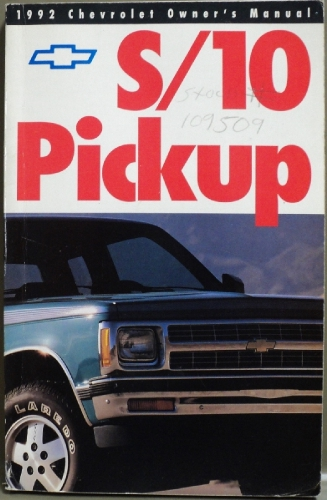 1992 Chevrolet S10 Pickup Truck Owners Manual