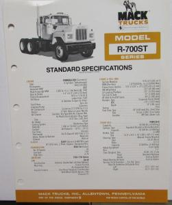 1981 Mack Trucks Model R 700ST Diagrams Features Sales Brochure Original