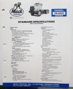 1982 Mack Trucks Model RM-600SX Diagrams Soecifications Sales Brochure Original