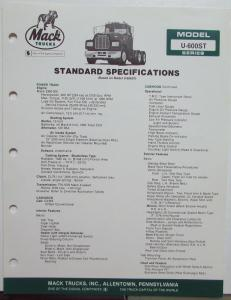 1982 Mack Trucks Model U 600ST Diagram Dimensions Sales Brochure Original