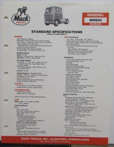 1984 Mack Trucks Model MH602 Diagrams Dimensions Specifications Sheet Original