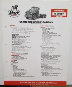 1984 Mack Trucks Model R 600ST Diagrams Dimensions Specifications Sheet Original