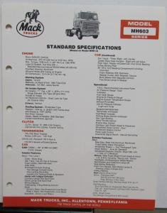 1985 1986 Mack Trucks Model MH603 Diagrams Dimensions Specifications Sheet Orig