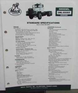 1985 Mack Trucks Model DML-800SX Diagrams Dimensions Specification Sheet Orig