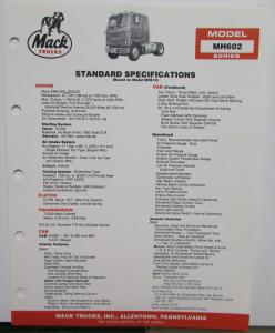 1987 Mack Trucks Model MH602 Diagrams Dimensions Specifications Sheet Original