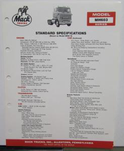 1987 Mack Trucks Model MH603 Diagrams Dimensions Specifiations Sheet Original