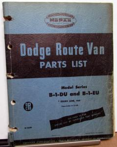 1948 1949 Dodge Route Van Dealer Parts List Book Series B-1-DU & B-1-EU Original