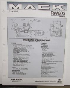 1989 Mack Trucks Model RW 603 Standard Specifications Sheet Original