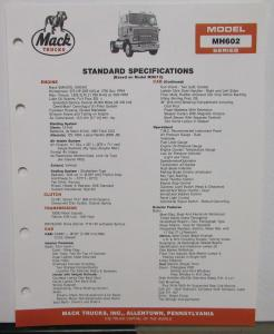 1988 Mack Trucks Model MH602 Series Standard Specifications Sheet Original