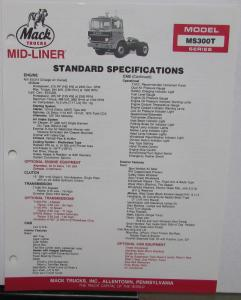 1988 Mack Trucks Model MS300T Series Standard Specifications Sheet Original