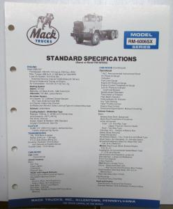1985 Mack Trucks RM 6006SX Dimensions Standard Specifications Sale Brochure Orig