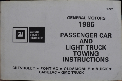 1986 General Motors Car Light Truck Towing Instructions