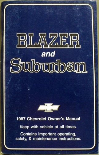 1987 Chevrolet Blazer Suburban Owners Manual