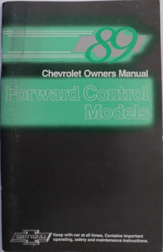 1989 Chevrolet Truck Forward Control Models Owners Manual Route Delivery