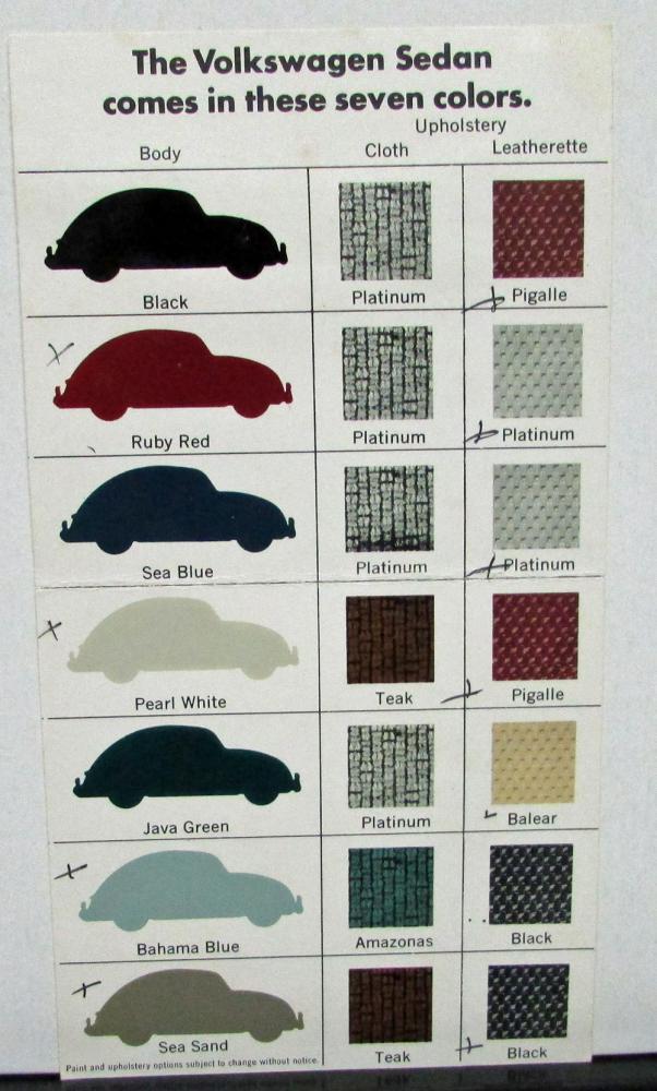 Original 1966 Volkswagen Dealer Sales Brochure Paint Upholstery Colors Beetle