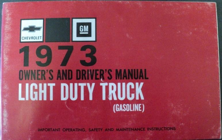 1973 Chevrolet Light Duty Pickup Truck Gas Owner Man Red Cover Suburban Blazer