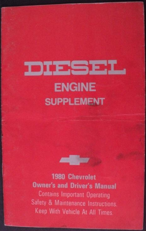 1980 Chevrolet Light Duty Truck Diesel Engine Supplement Owners Manual