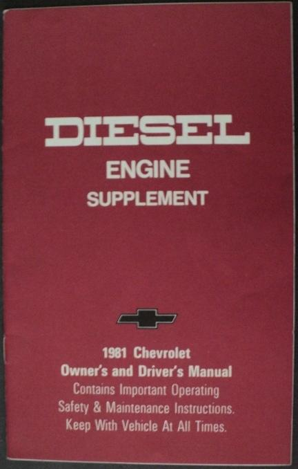 1981 Chevrolet Light Duty Truck Diesel Engine Supplement Owners Manual