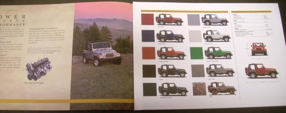 Jeep Wrangler Dealer Sales Brochure 4x4 Specifications Rare