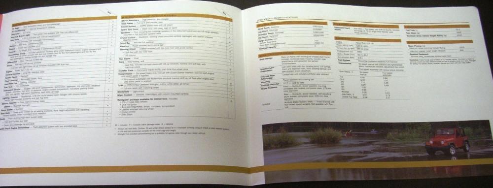 Liberty Auto Sales >> 2005 Jeep Wrangler Dealer Sales Brochure 4X4 Specifications Rare!
