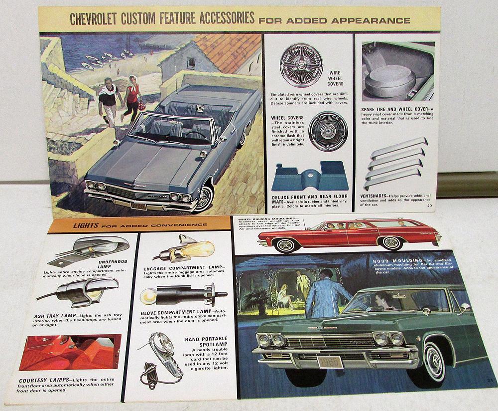 1965 Chevrolet Custom Accessories Sales Brochure Full Size Impala 1966 Chevy Corvette