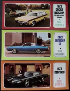 NOS Mopar 1973 Dodge Post Cards Monaco Charger SE Wagons Set of 3