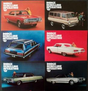 NOS 1967 Dodge Post Cards Monaco Coronet 500 Polara 500 Dart GT Sportsman Set 6