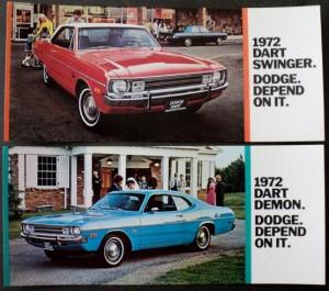 NOS 1972 Dodge Original Post Cards Dart Swinger and Demon Set of 2