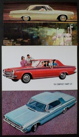 NOS Dodge 1964 Post Cards Polara Hardtops and Compact Dart GT Set of 3