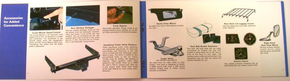 1972 Chevrolet Accessories Brochure Passenger Car Camaro