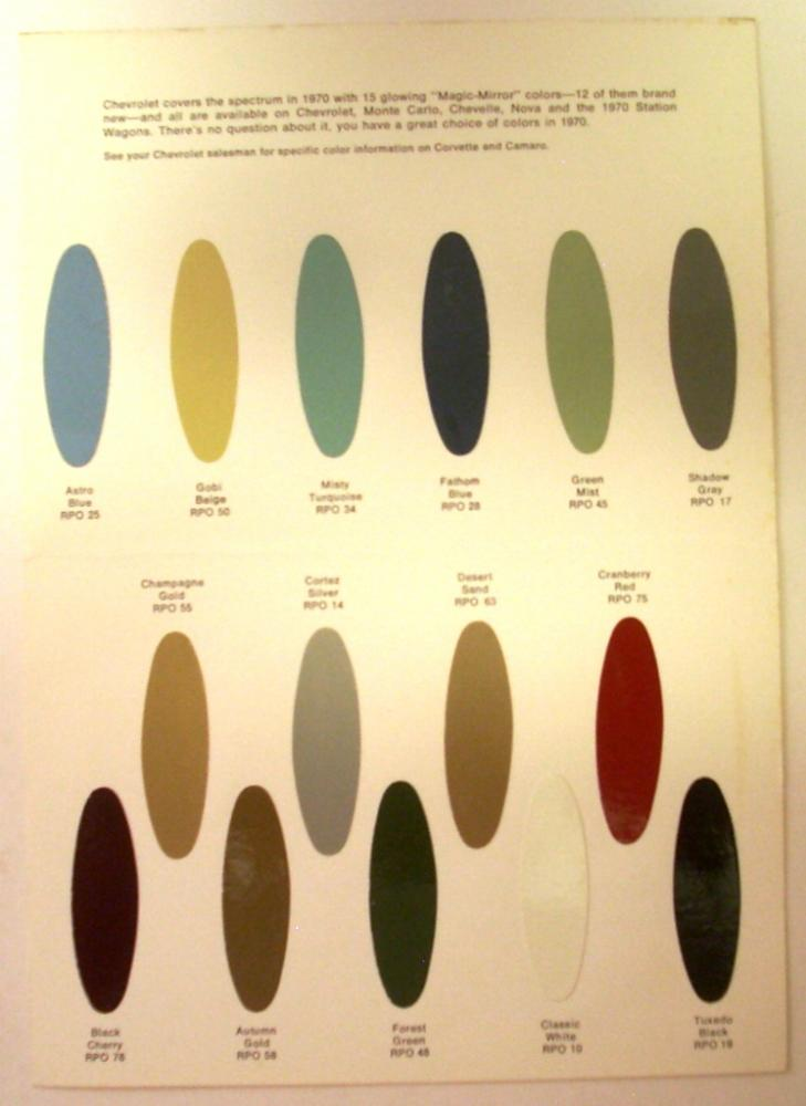 1970 Chevrolet Color Options Brochure Paint Chip Corvette