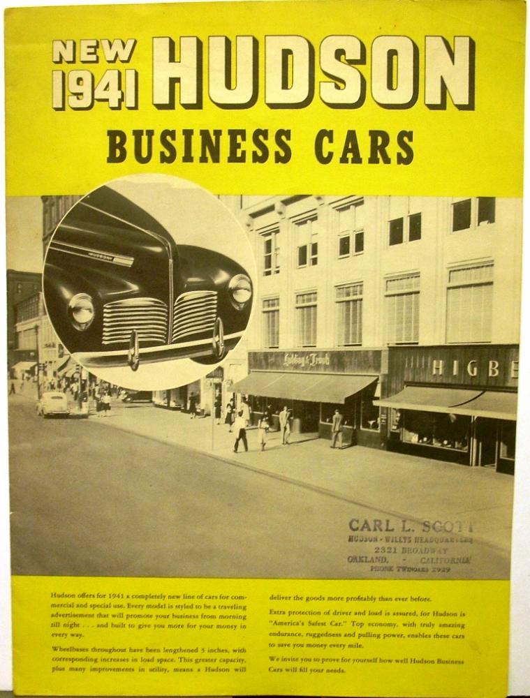 1941 Hudson Dealer Large Sales Brochure Business Cars Woody