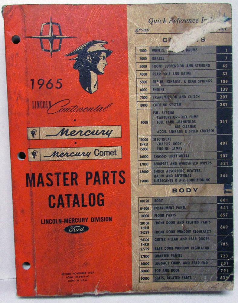 Original 1965 Lincoln Mercury Dealer Master Parts Catalog