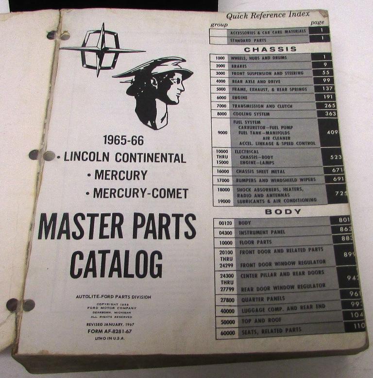 Original 1966 Lincoln Mercury Dealer Master Parts Catalog