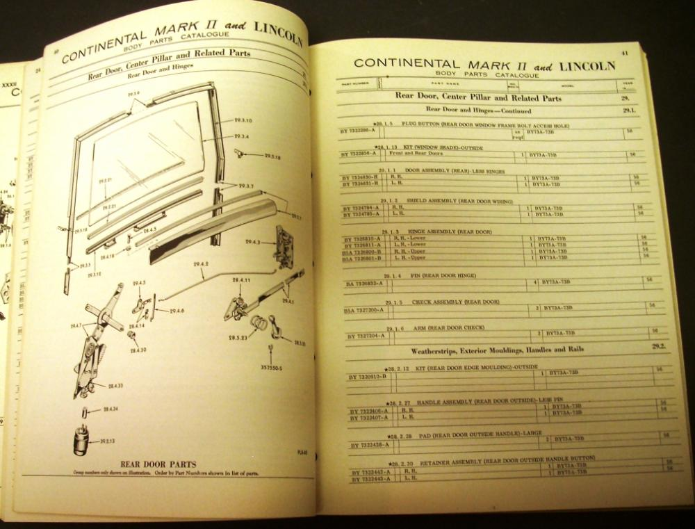 original 1956 lincoln body parts catalog book continental mark ii premiere capri. Black Bedroom Furniture Sets. Home Design Ideas
