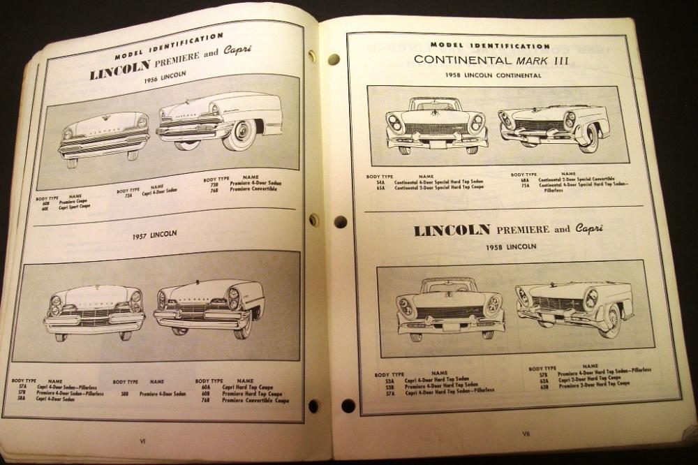 original 1956 1959 lincoln chassis body parts catalog book continental premiere. Black Bedroom Furniture Sets. Home Design Ideas