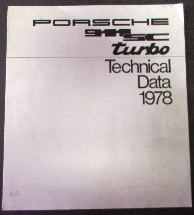 1978 Porsche Dealer Technical Data Sales Brochure Original