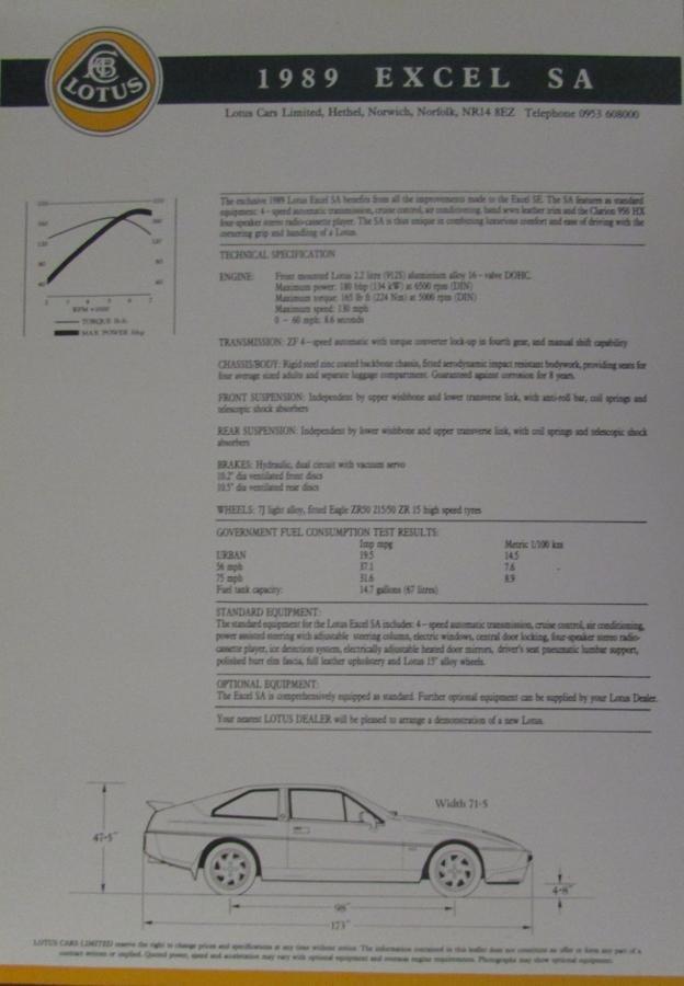 1989 lotus cars original sales brochure excel esprit models spec sheets. Black Bedroom Furniture Sets. Home Design Ideas