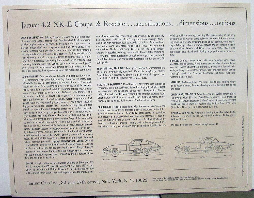 1965 Jaguar 4 2 XK-E Coupe Roadster Spec Data Sheet Original