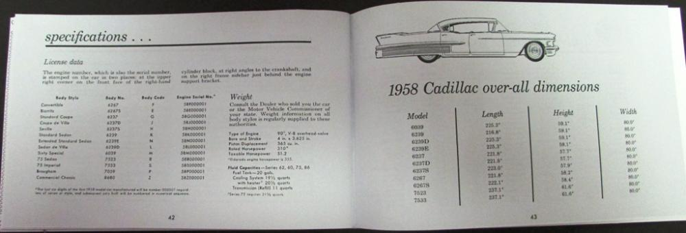 1958 Cadillac Owners Manual Series 62 75 Biarritz DeVille