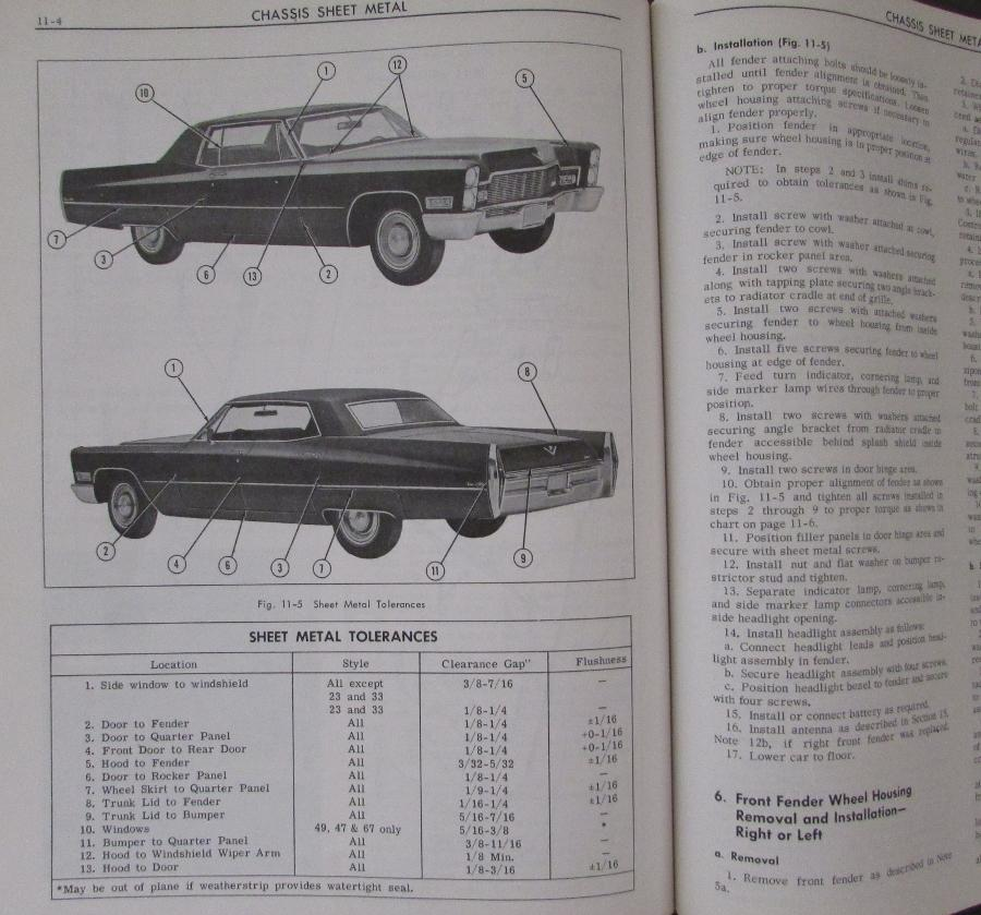 1968 Cadillac Shop Service Manual Fleetwood Calais deVille ...