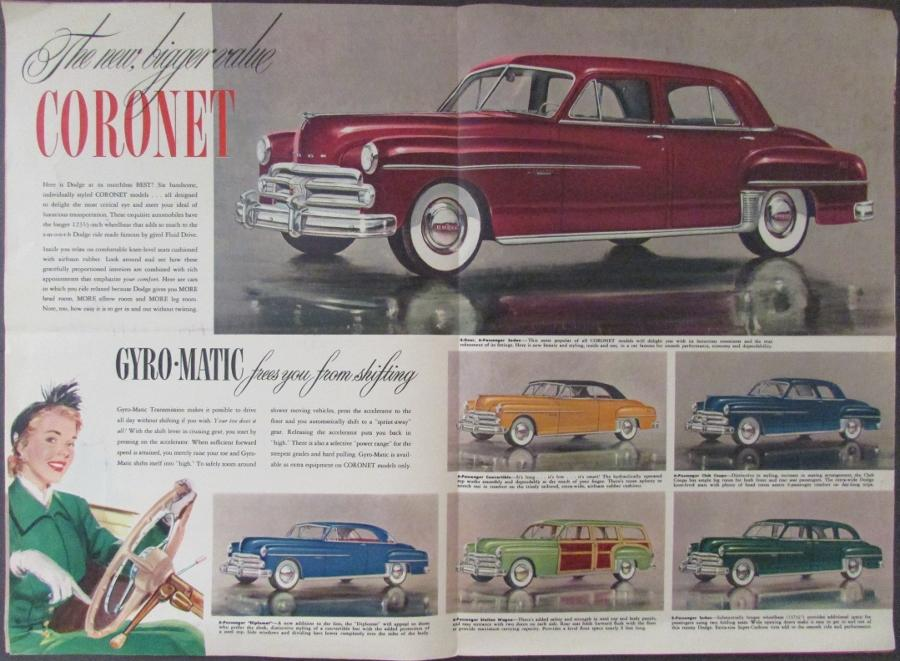 1950 Original Dodge Color Sales Brochure Coronet