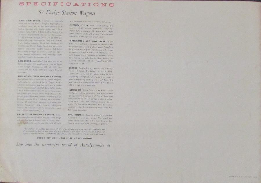 1957 dodge color sales brochure sierra suburban station wagons