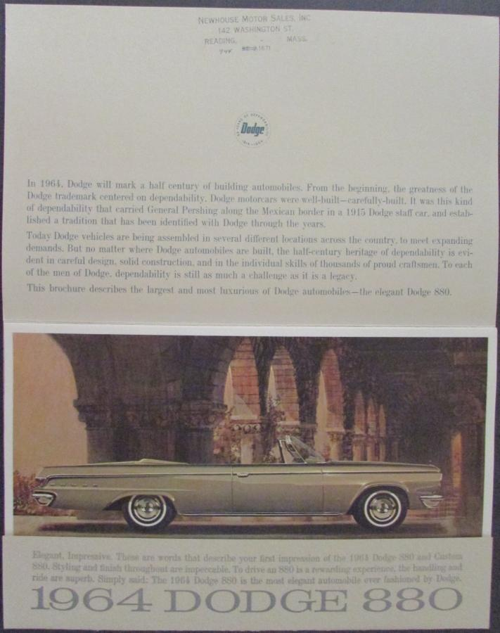 1964 DODGE 880 ORIGINAL 6 Print PORTFOLIO BROCHURE 64 SALES CATALOG