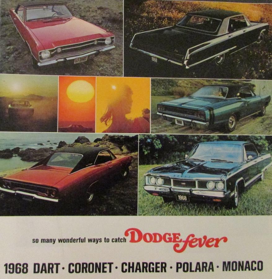 1968 Dodge Dart Coronet Charger Polara Monaco Sales Brochure Color 1969 Chart Original